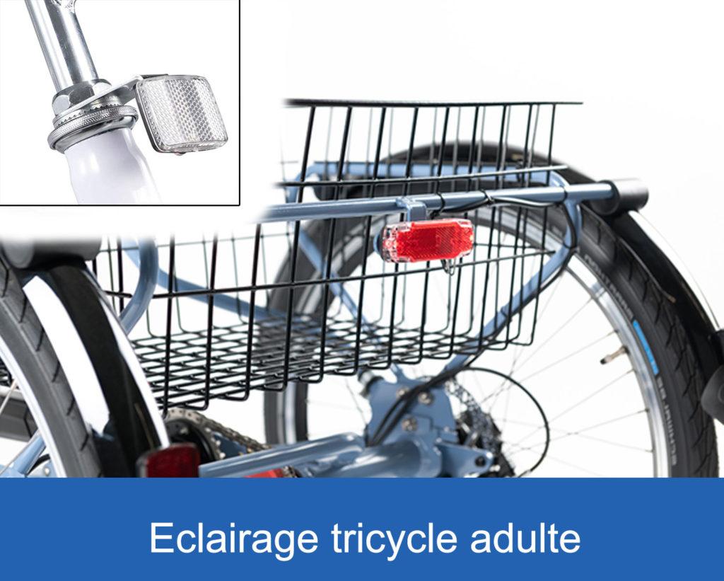 éclairage avant et arrière ur un tricycle adulte