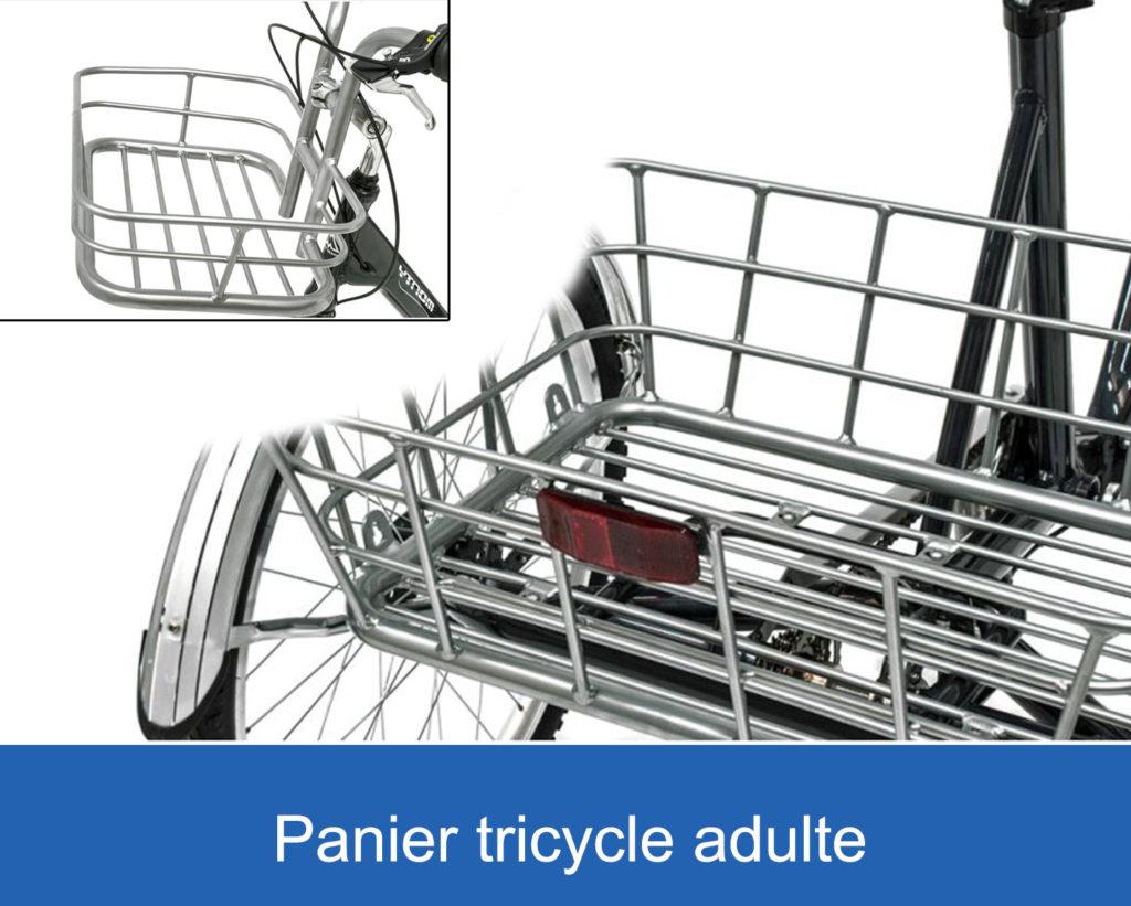 panier avant et panier arrière sur un tricycle adulte