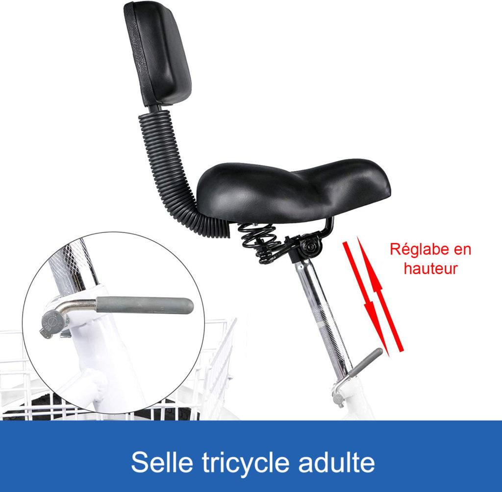 selle avec dossier sur un tricycle pour adulte